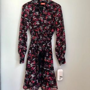 Long sleeve fit and flare patterned dress